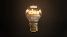 Bright Idea 3D Incandescent Light Bulb Stock Photography