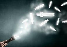 Bright idea in darkness Stock Photo