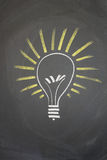 Bright idea. A drawing on a blackboard depicting a bright idea Stock Images