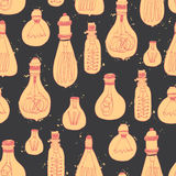 Bright idea. Hand drawn vintage lightbulbs for your design. Seamless vector pattern Royalty Free Stock Photos