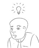 Bright Idea Head with Bulb black and white Stock Photography