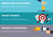 Bright idea investment, target market, product promotion banners. Flat design concepts for market in flat design for web banners and promotional materials royalty free illustration