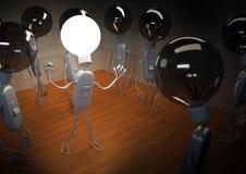 Bright Idea Light Bulb. Bright light bulb surrounded dark light bulbs, symbolizing a good idea Royalty Free Stock Photo