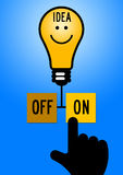 Bright idea. Looking for good and bright ideas in life and business Royalty Free Stock Images