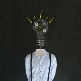 Bright idea man with chalk lightbulb head Royalty Free Stock Photo