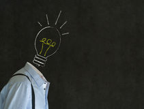 Bright idea man with chalk lightbulb head Stock Image