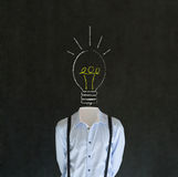 Bright idea man with chalk lightbulb head Royalty Free Stock Image