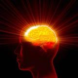 Bright Idea. Man head with shining brain Stock Images
