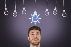 Bright Idea Over Head. Working Conceptual Business Concept Royalty Free Stock Photo