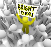 Bright Idea Person Holding Sign New Plan Suggestion Stock Images
