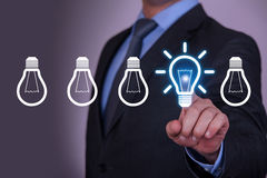 Bright Idea on Touch Screen Royalty Free Stock Photos