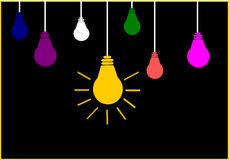 Bright Ideas. On black background Stock Photo