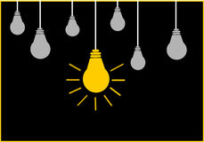 Bright Ideas. On black background Royalty Free Stock Photos