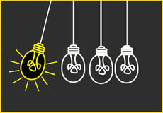 Bright Ideas. On black background Royalty Free Stock Image