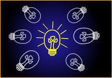 Bright Ideas. On black background Stock Images