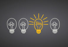 Bright Ideas. On black background Royalty Free Stock Images