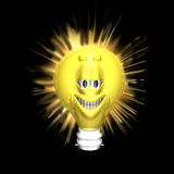 Bright Ideas Smiley. Light bulb shaped Smiley with a bright glow Vector Illustration