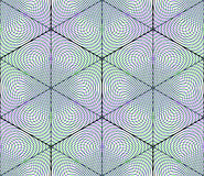 Bright illusory abstract geometric seamless pattern with 3d geom Royalty Free Stock Images