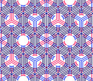 Bright illusory abstract geometric seamless pattern with 3d geom. Etric figures. Vector transparent superimpose backdrop Stock Photos