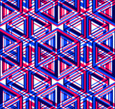 Bright illusory abstract geometric seamless pattern with 3d geom. Etric figures. Vector transparent superimpose backdrop Royalty Free Stock Photo