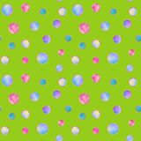 Bright illustrated seamless pattern with multi-colored gems. On a green background vector illustration