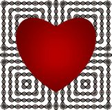 Abstract pattern. Red heart on a geometric ornament. Vector. royalty free stock photos
