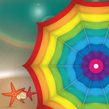 Bright Illustration of a colorful parasol. The sea in the background Stock Photo