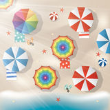 Bright Illustration of colorful parasols and sea Stock Photos