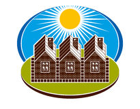Bright illustration of country houses and sunny landscape. Villa. Ge theme, vector simple home. Summertime conceptual image Royalty Free Stock Photography