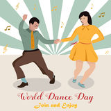 Bright illustration of the couple dancing boogie-woogie. World Dance Day. Bright illustration of the couple dancing boogie-woogie. International Dance Day Stock Photography