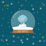 Bright illustration with glass bowl with snow and shining lights Stock Image