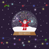 Bright illustration with glass bowl with snow and shining lights. Illustration with santa and fireworks in glass bowl with snow, and shining lights on the Stock Photo