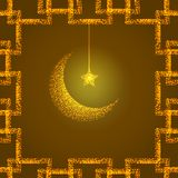 Bright illustration with golden moon and star. Design template for greetings islam cards, posters, banners, invitations. Illustration with golden moon and star Royalty Free Stock Photo