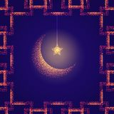 Bright illustration with golden moon and star. Design template for greetings islam cards, posters, banners, invitations. Illustration with golden moon and star Stock Photography