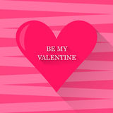 Bright illustration with pink colored heart in trendy flat style for use in design for valentines day greeting card Stock Images
