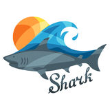 Bright illustration or print with shark for t Stock Images