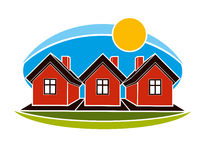 Bright illustration of simple country houses on sunrise backgrou Royalty Free Stock Images