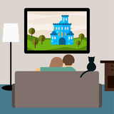 Bright illustration in trendy flat style with couple and cat watching the adventure film on television sitting on the couch in the Stock Photography