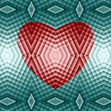 Abstract colorful pattern. Red heart on a blue background. Pixel art. Vector. royalty free stock photo