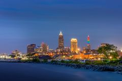 City of Cleveland at Dusk with Lake Erie stock photography