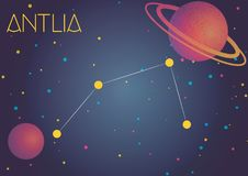 The constellation Antlia. Bright image of the constellation Antlia. Kids who are fond of astronomy will like it very much Vector Illustration