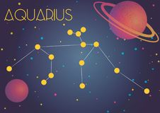 The constellation Aquarius. Bright image of the constellation Aquarius. Kids who are fond of astronomy will like it very much Royalty Free Illustration