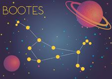 The constellation Bootes. Bright image of the constellation Bootes. Kids who are fond of astronomy will like it very much Vector Illustration