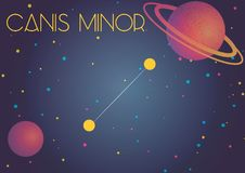 The constellation Canis Minor. Bright image of the constellation Canis Minor. Kids who are fond of astronomy will like it very much Vector Illustration