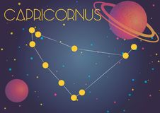 The constellation Capricornus. Bright image of the constellation Capricornus. Kids who are fond of astronomy will like it very much stock illustration