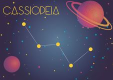 The constellation Cassiopeia. Bright image of the constellation Cassiopeia. Kids who are fond of astronomy will like it very much Stock Illustration