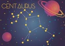 The constellation Centaurus. Bright image of the constellation Centaurus. Kids who are fond of astronomy will like it very much stock illustration