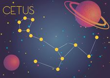 The constellation Cetus. Bright image of the constellation Cetus. Kids who are fond of astronomy will like it very much royalty free illustration