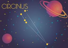 The constellation Circinus. Bright image of the constellation Circinus. Kids who are fond of astronomy will like it very much Royalty Free Illustration
