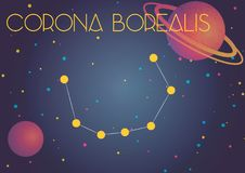 The constellation Corona Borealis. Bright image of the constellation Corona Borealis. Kids who are fond of astronomy will like it very much Stock Illustration
